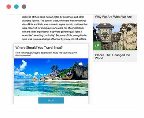 Our quiz creator lets you embed your content in a landing page