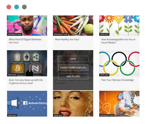 Opinion Stage quiz generator includes numerous templates