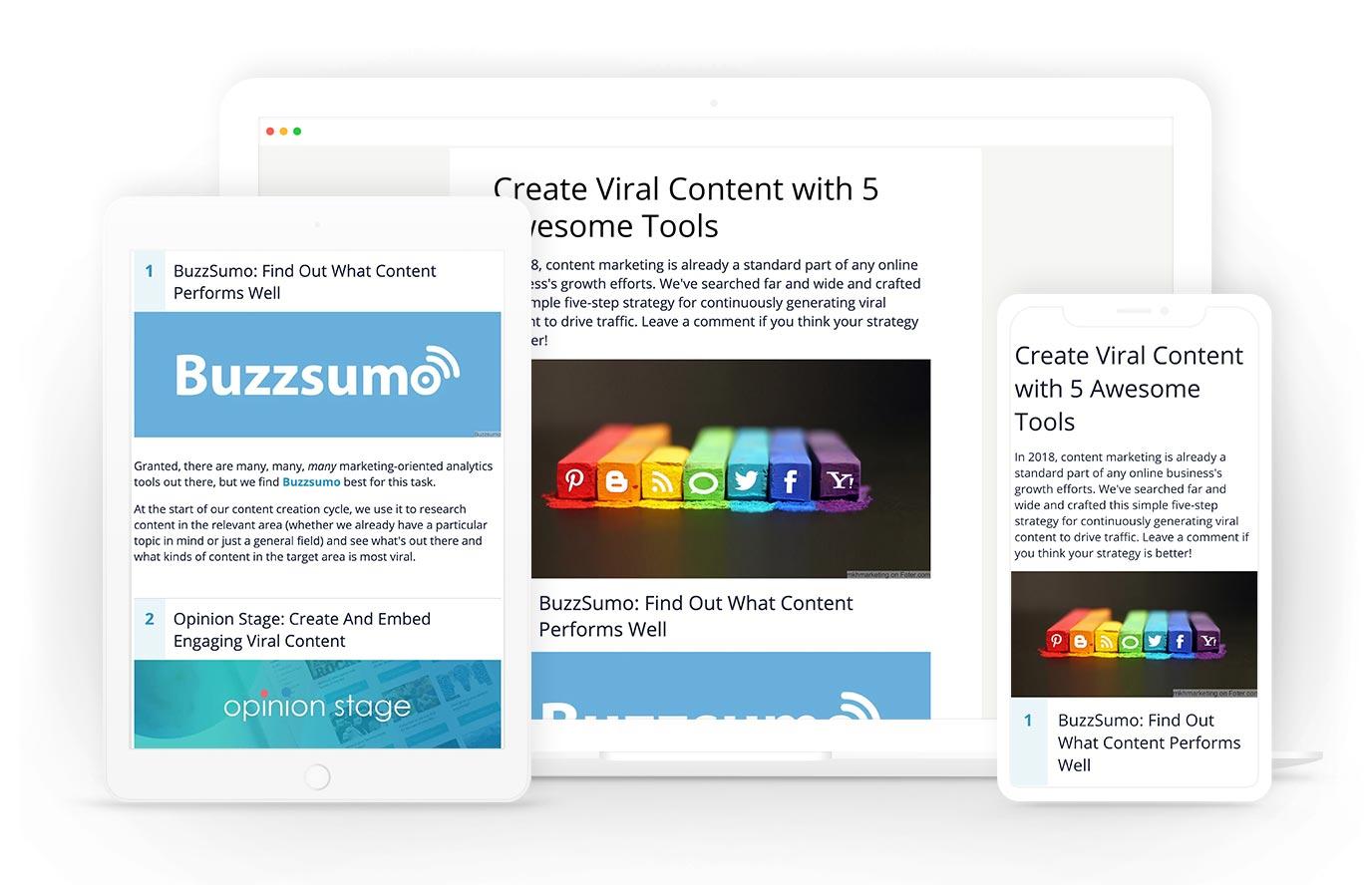 Online list maker responsive design