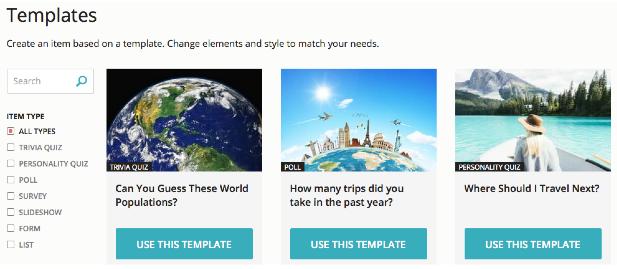 online quiz templates