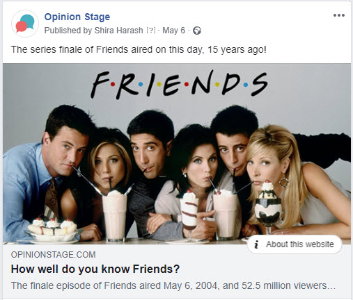 Promote the buzzfeed style quiz on facebook